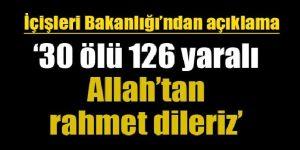 """""""KANLI MİTİNG"""" İçişleri Bakanlığı: 30 ölü, 126 yaralı"""