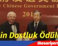 Prof. Dr. Okyay Kaynak'a Çin Dostluk Ödülü