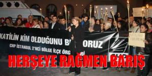 """""""HERŞEYE RAĞMEN BARIŞ"""" CHP İLÇE ÖRGÜTLERİ KAĞIHANE'DE TERÖRÜ LANETLEDİLER"""