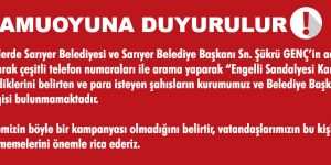"""Sariyer Belediyesinden """"KAMUOYUNA DUYURULUR"""""""