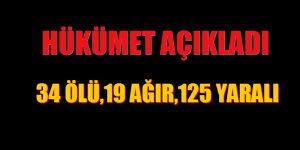 """""""RESMİ AÇIKLAMA"""" 34 ÖLÜ,19 AĞIR YARALI, 125 YARALI"""