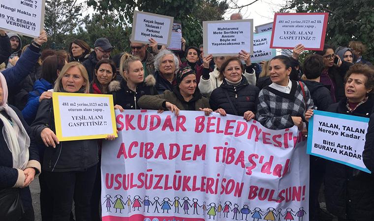 Acıbadem'de tarikat yurdu protestosu