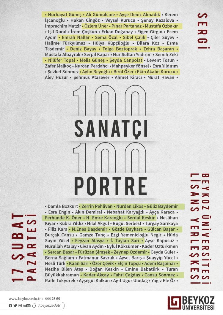 100 Ressam 100 Portre sergisi Beykoz Üniversitesi'nde…