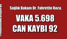 Bakan Koca VAKA 5.698 CAN KAYBI 92 Açıkladı