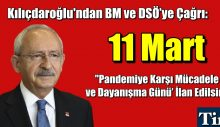 Kılıçdaroğlu. 11 Mart Pandemi Günü İlan Edilsin