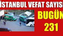 İstanbul'da bulaşıcı hastalık nedeniyle bugün 231 kişi hayatını kaybetti.