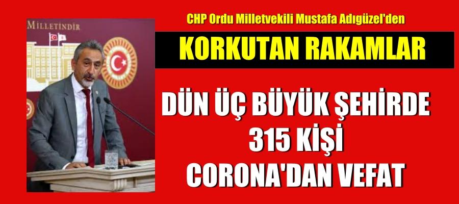 Üç büyük şehirde 315 kişi coronadan vefat etti