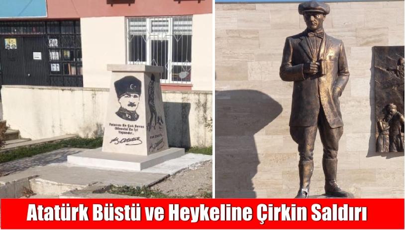 Atatürk büstü ve heykeline çirkin saldırı