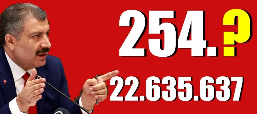 254 kişi daha hayatını kaybetti! 19 bin 103 yeni vaka var